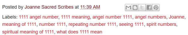 1111 Angel Number Joanne